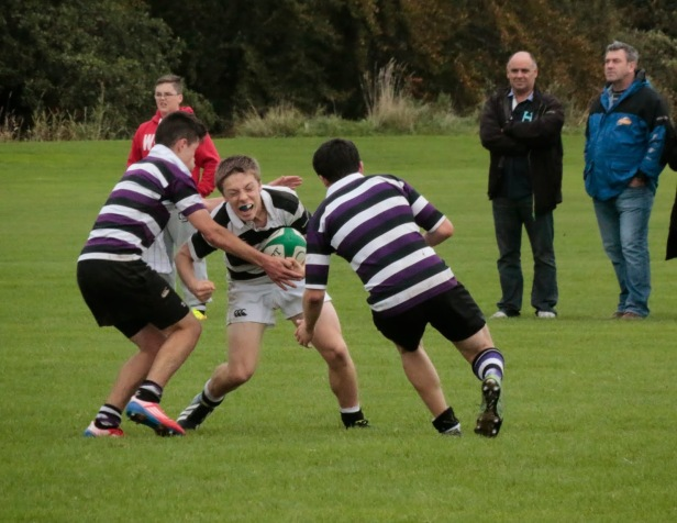 Stephen Meagher fights through contact